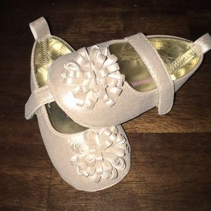 Laura Ashley metallic gold infant slippers